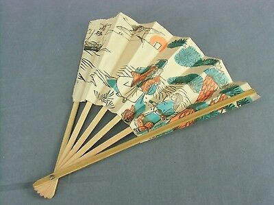 SU24 VTG Japanese Folding Fan Hand Made Bamboo Paper Handpainted 9in Sensu