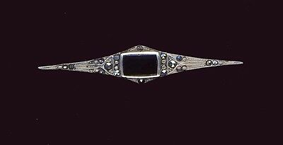 Sterling silver and onyx and marcasites set vintage brooch