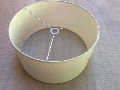 large cream linen fabric covered drum lampshade