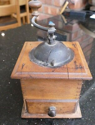 old antique wooden grinder coffee collectable