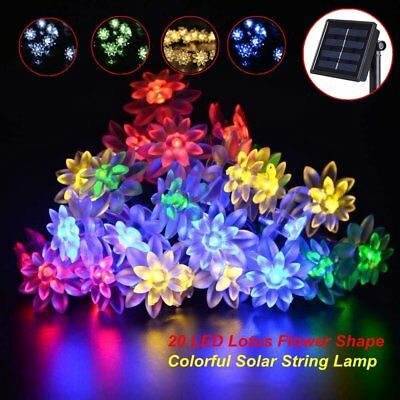 Solar String Light Outdoor 20 LED Lotus Flower Garden Lighting X'mas Fairy Lamp