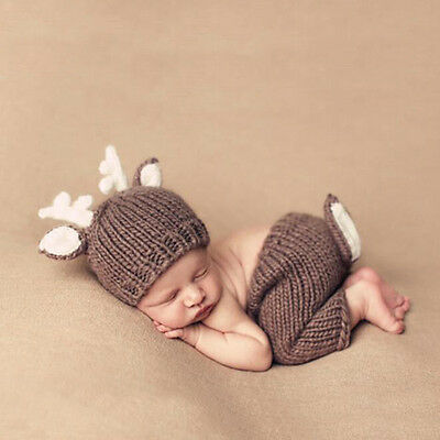 Newborn Baby Unisex Photography Props Crochet Knitted Deer Hat Diaper Outfits