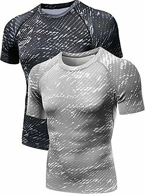 Neleus Men's 2 Pack Athletic Compression Work Out Shirts,5015,Black,Grey,M