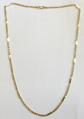 REDUCED! Genuine Solid 9ct 375 Yellow Gold 47cm Anchor x Bar Link Chain Necklace