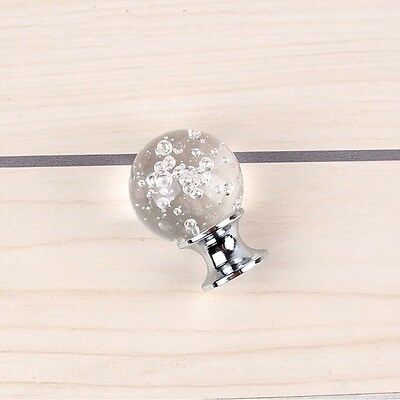 Bubble Within Crystal Glass Ball Knobs Single Hole Cabinet Wardrobe Grip 30*40mm