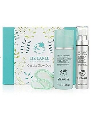 Liz Earle Get The Glow Duo, Hot Cloth Cleanser, Cloth & Face Serum Worth £50