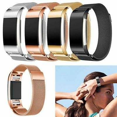 Metal Stainless Milanese Magnetic Wrist Band Strap For Fitbit Charge 2 Bracelet