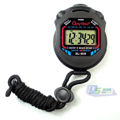 Handheld Digital LCD Chronograph Sports Stopwatch Counter Alarm Timer W/ Strap