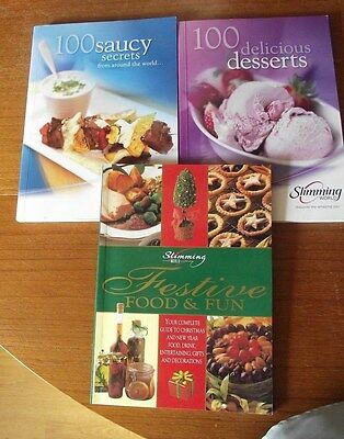 slimming world books x 3 recipes Festive food & drink 100 sauces 100 desserts