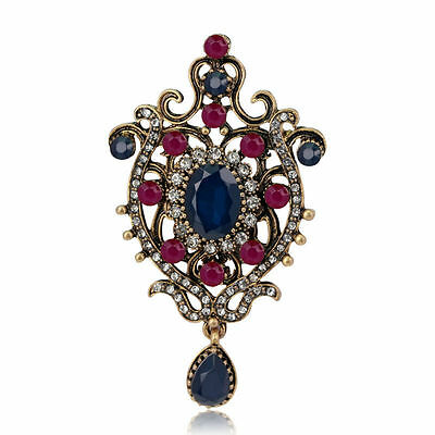 Antique Gold Plated Blue Red Clear Crystal Vintage Inspired Statement Brooch