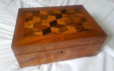 Large Victorian Mahogany Geometric Parquetry Inlaid Sewing Box circa 1880/90