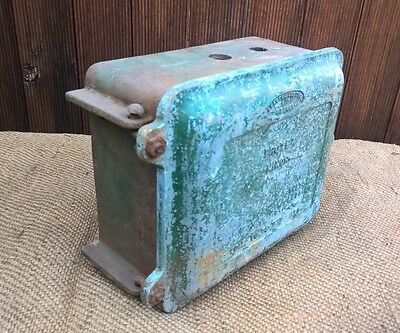 Vintage Industrial Cast Iron Electrical Fuse Box Off Old Machine - Steampunk