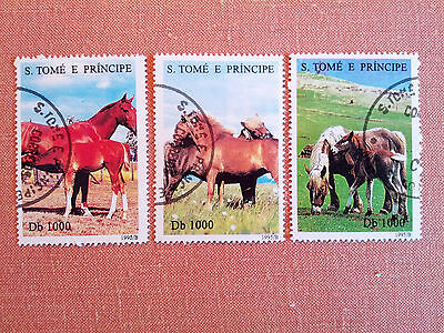 S.Tome E Principe 1995 Horse Set of 3 Stamps Cancelled