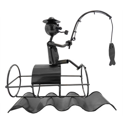 Metal Craft Single Wine Bottle Holder Fisherman with Fish  26 x 9.5 x 24 cm