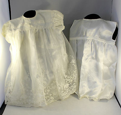 Pair Of Vintage Baby Gowns / Dresses Netted