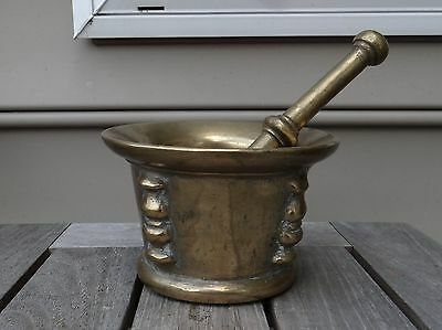 16th Century Heavyweight Mortar & Pestle Set Molded in Bronze, possibly, French