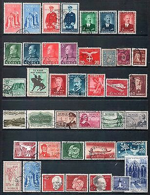 NORWAY - Mixed lot of 40 Stamps, most Good - Fine Used, LH