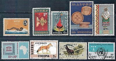 ETHIOPIA - Mixed lot of 9 Stamps, most Good Used, LH