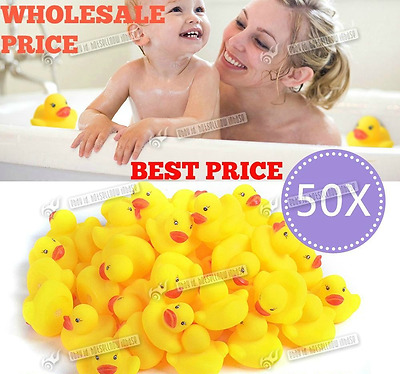 10 Yellow Rubber Ducks Bath time Squeaky Bath Toy Water Play Kids Toddler DUCK
