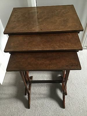 ANTIQUE Edwardian Nest Of 3 Tables In Burr Walnut With Rosewood Crossbanding