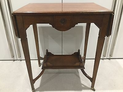 Stunning Antique Edwardian Walnut Occasional Table Short Drop Leaves Under Tier