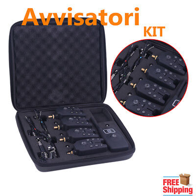 Avvisatori Kit Bite Alarms With Receiver Hangers carpa pesca LED Wireless UP