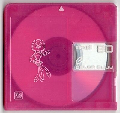 One (x1) Maxell Color Club Hi-MD 74 MiniDisc & case genuine Free AusPost