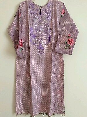 Stitched Embroidered Ladies Lawn Kurta Top Size Large