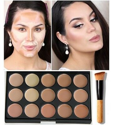 15 colors Concealer foundation palette face contour makeup set cream, & brush #2