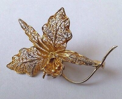 Beautiful Vintage 1950's Gilt 800 Solid Silver Floral / Flower Brooch / Pin.