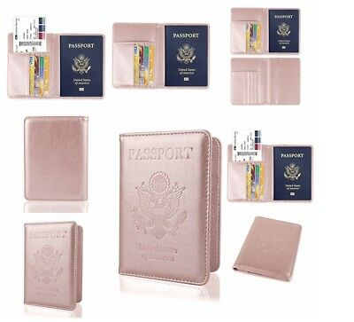 NEW Leather Passport Cover Holder RFID Blocking Ladies Modern Travel ROSE GOLD