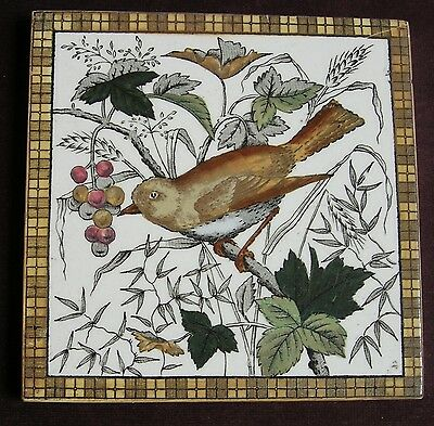 "Original Antique Victorian ""LITTLE BIRD"" Tile c1880"