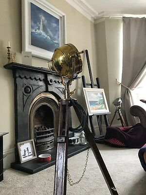 "Antique tripod with 7"" Brass Francis search light"