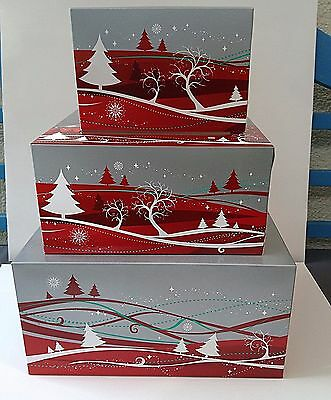 Christmas cake boxes pack of 5 Xmas cake box carrier with transparent window