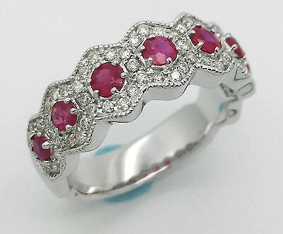 Solid 14K White Gold Carat Ruby Red Vintage Antique Real Natural Diamond Ring