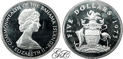 Bahamas - 5 Dollars Argent 1973 - Proof