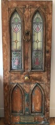Gothic Victorian Stained Glass Mahogany Door : make offers please