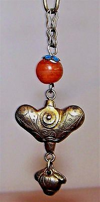 Antique Chinese Tibetan Gold-Over-Brass Folk Amulet Charm Carnelian & Enamel
