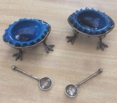 Super Pair Arts & Crafts Edwardian Silver & Art Pottery Novelty Salts w/Spoons
