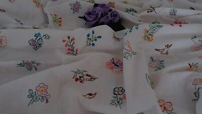 VINTAGE COTTON HAND EMBROIDERED WHITE TABLECLOTH  48 x 52 INS.