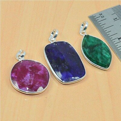 Wholesale 3 Pc 925 Solid Sterling Silver Natural Faceted Sapphire Pendant Lot