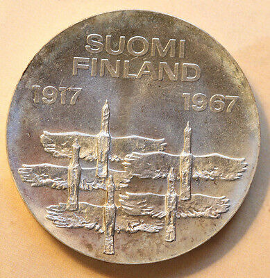 1967 Finland  50 th Anniverasry of Indepandence 35mm-Sliver-Foreign Coin