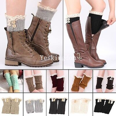 Womens Knitted Leg Warmers Boot Cuffs Toppers Socks Lace Button Winter Warm New
