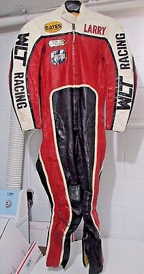 CUSTOM leather MOTORCYCLE RACING SUIT by BATES One Piece Vintage 1970s