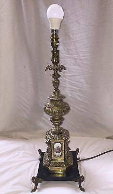 Antique Ornate Brass Lamp Base