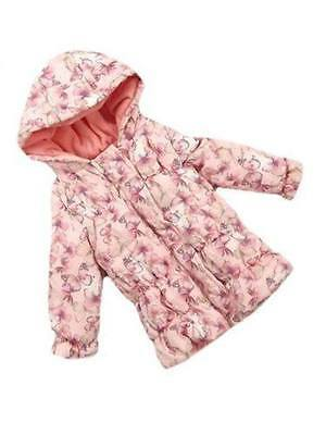 BHS Baby Girls Pink Butterfly Print Hooded Quilted Jacket Age 0-3 & 3-6 months
