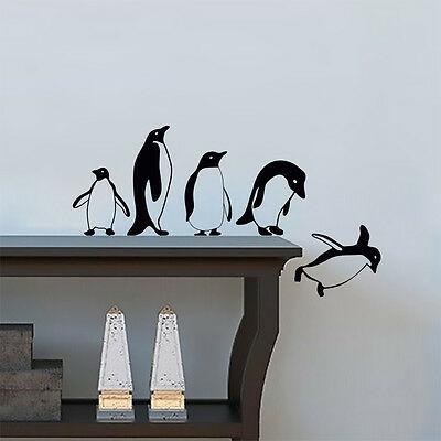 Penguins jumping flying funny Vinyl Wall Sticker Decor Decal Mural KItchen Pets