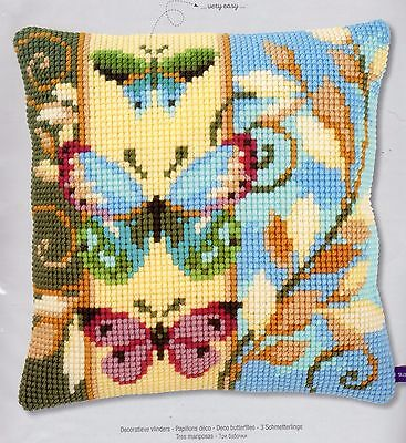 Deco Butterflies Tapestry Canvas Cross Stitch Cushion Front Kit Vervaco