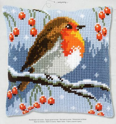 Red Robin Winter Tapestry Canvas Cross Stitch Cushion Front Kit Vervaco