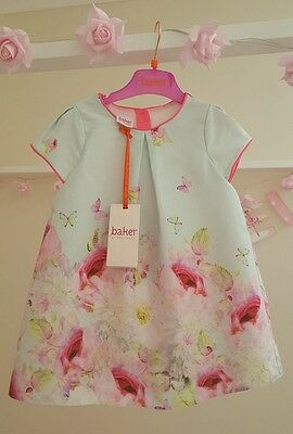 Baby Girls 🦄TED BAKER🦄 18/24 months Mint Peony 🌹Floral🌹 Dress BNWT